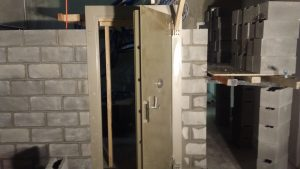 Vault Door installation Besser block
