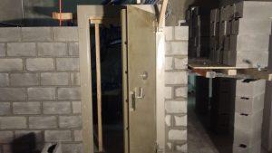 Vault Door installation Besser block